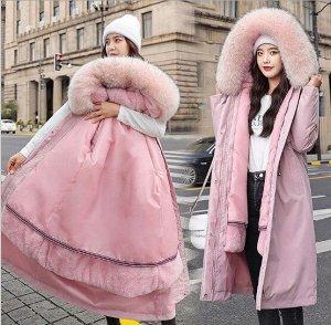 Женская парка, с ремешком на спине, цвет розовый