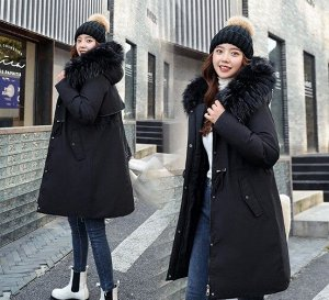 Женская зимняя куртка, пояс на шнуровке, с декоративной застежкой на манжете, цвет черный