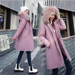 Женская зимняя куртка, пояс на шнуровке, с декоративной застежкой на манжете, цвет розовый