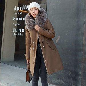 Женская зимняя куртка, пояс на шнуровке, с декоративной застежкой на манжете, цвет коричневый