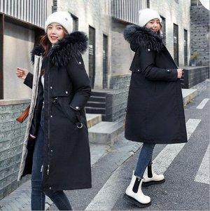 Женская зимняя куртка, с подкладом, шнуровка на талии, цвет черный
