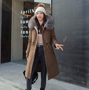 Женская зимняя куртка, с подкладом, шнуровка на талии, цвет коричневый