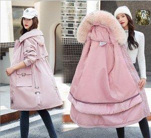 """Женская зимняя парка, с подкладом, декор """"Кольцо"""" на карманах, застежки-молнии на рукавах, цвет розовый"""
