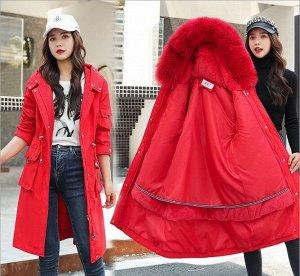 """Женская зимняя парка, с подкладом, декор """"Кольцо"""" на карманах, застежки-молнии на рукавах, цвет красный"""