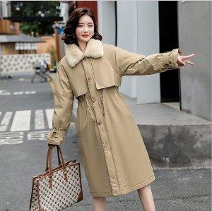Женская зимняя куртка, с воротником из искусственного меха, цвет хаки