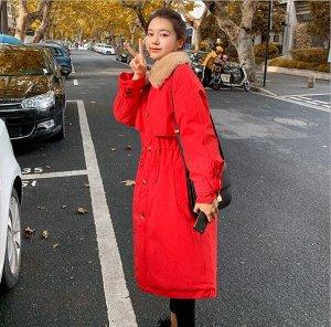 Женская зимняя куртка, с воротником из искусственного меха, цвет красный