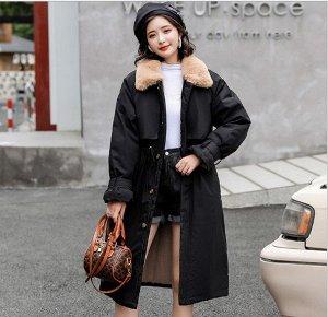 Женская зимняя куртка, с воротником из искусственного меха, цвет черный