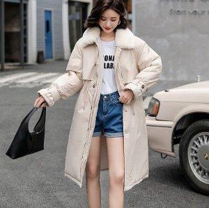 Женская зимняя куртка, с воротником из искусственного меха, цвет белый