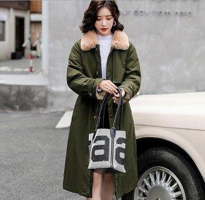 Женская зимняя куртка, с воротником из искусственного меха, цвет зеленый