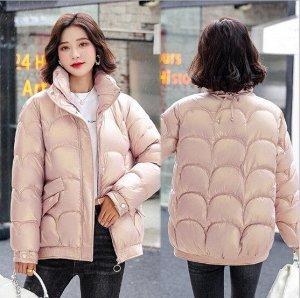 Женская демисезонная куртка, с воротником -стойкой, цвет розовый