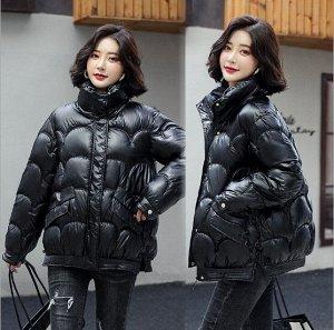 Женская демисезонная куртка, с воротником -стойкой, цвет черный