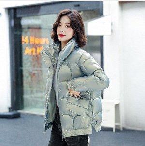 Женская демисезонная куртка, с воротником -стойкой, цвет голубой