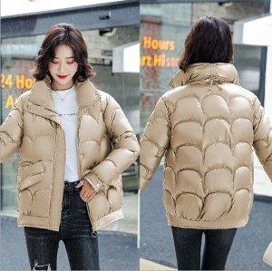 Женская демисезонная куртка, с воротником -стойкой, цвет золотой