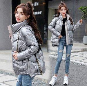 Женская демисезонная куртка, с асимметричным низом и воротником стойкой, цвет серый