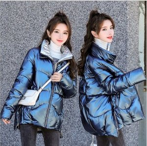 Женская демисезонная куртка, с асимметричным низом и воротником стойкой, цвет синий