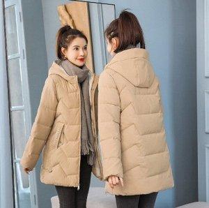 Женская демисезонная куртка, с надписями на карманах, цвет хаки