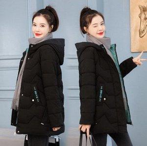 Женская демисезонная куртка, с надписями на карманах, цвет черный