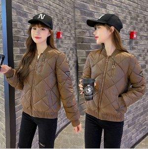 Женская куртка-бомбер, цвет коричневый