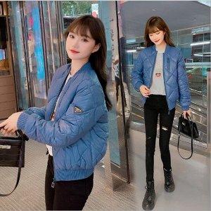 Женская куртка-бомбер, цвет синий