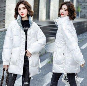Женская удлиненная куртка, воротник-стойка, глянцевый эффект, цвет белый