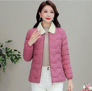 Женская стеганая куртка, с воротником из искусственного меха, цвет розовый