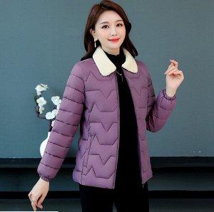 Женская стеганая куртка, с воротником из искусственного меха, цвет фиолетовый