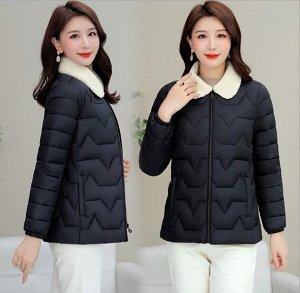 Женская стеганая куртка, с воротником из искусственного меха, цвет черный