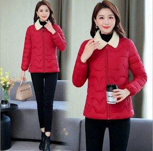 Женская стеганая куртка, с воротником из искусственного меха, цвет красный
