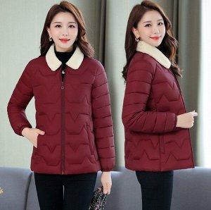 Женская стеганая куртка, с воротником из искусственного меха, цвет бордовый