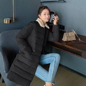 Женская удлиненная стеганая куртка, с воротником из искусственного меха, цвет черный
