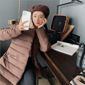 Женская удлиненная стеганая куртка, с воротником из искусственного меха, цвет коричневый