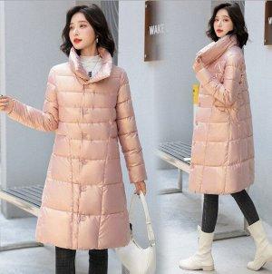 Женская удлиненная куртка, с воротником-стойкой, с необычными пуговицами, цвет розовый