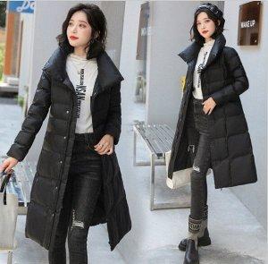 Женская удлиненная куртка, с воротником-стойкой, с необычными пуговицами, цвет черный