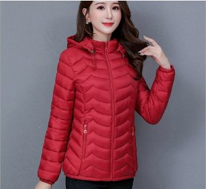 Женская стеганая куртка, с капюшоном, цвет красный