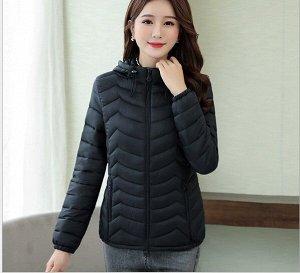 Женская стеганая куртка, с капюшоном, цвет черный