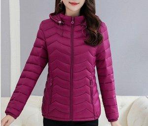 Женская стеганая куртка, с капюшоном, цвет фиолетовая фуксия