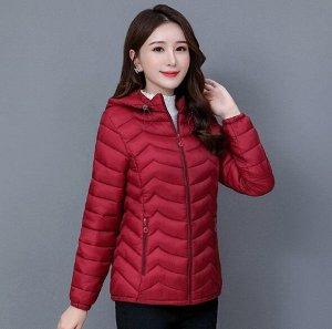 Женская стеганая куртка, с капюшоном, цвет бордовый