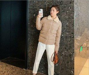 Женская осенняя стеганая куртка, с воротником из искусственного меха, цвет хаки