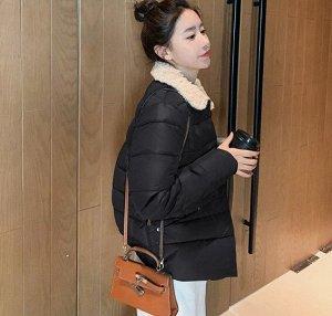Женская осенняя стеганая куртка, с воротником из искусственного меха, цвет черный