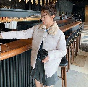 Женская осенняя стеганая куртка, с воротником из искусственного меха, цвет белый