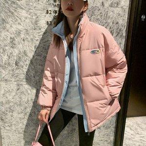 Женская демисезонная куртка, цвет розовый/голубой