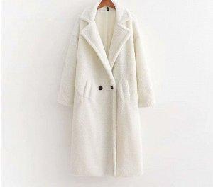 Женское пальто чебурашка, цвет белый