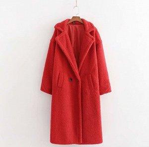 Женское пальто чебурашка, цвет красный