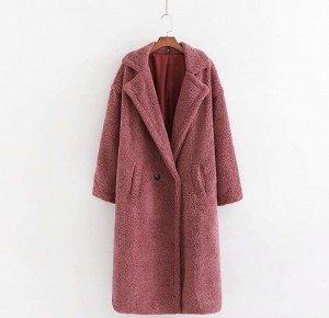 Женское пальто чебурашка, цвет темно-розовый
