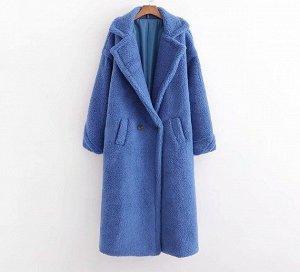 Женское пальто чебурашка, цвет синий