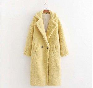 Женское пальто чебурашка, цвет желтый