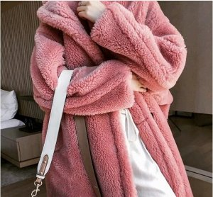 Женское пальто чебурашка, цвет розовый