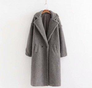 Женское пальто чебурашка, цвет серый