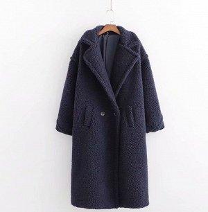 Женское пальто чебурашка, цвет темно-синий