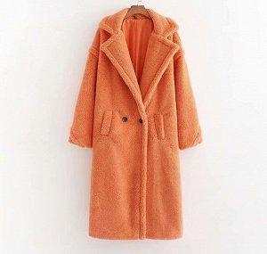 Женское пальто чебурашка, цвет оранжевый